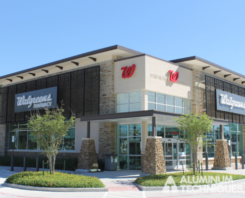 Showing custom aluminum work for a Walgreens.