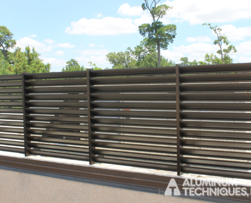 Showing an aluminum fence.